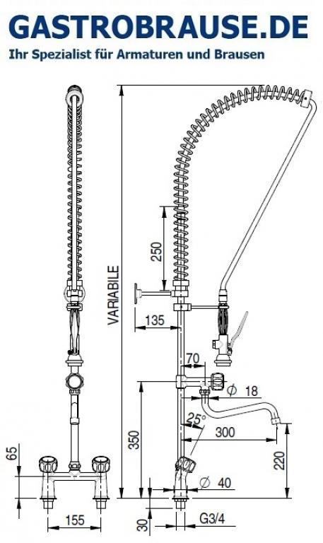 Geschirrbrause 2 Loch 16cm Geschirrbrause Pendelbrause Gastrobrause